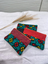 "Coin Purse | Green, Yellow, Red Flowers | Leather | 3""x 5"" 