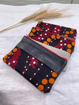 "Coin Purse | Red, Orange, Black Polka Dots | Leather | 3""x 5"" | Handmade in Kenya"