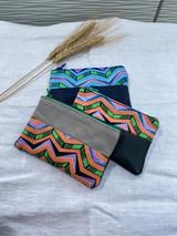 "Coin Purse | Multicolour Chevron | Leather | 3""x 5"" | Handmade in Kenya"