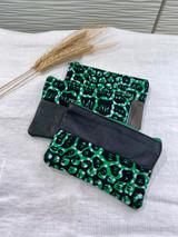 "Coin Purse |Green, Black Scale  | Leather | 3""x 5"" | Handmade in Kenya"