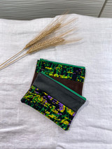 "Coin Purse | Green, Yellow, Purple Abstract | Leather | 3""x 5"" 