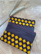 "Coin Purse | Orange & Red Diamond Pattern | Leather | 3""x 5"" 