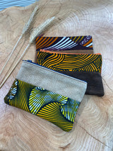 "Coin Purse | Orange & Yellow Line Design| Leather | 3""x 5"" 