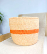 Kiondo Basket - Natural Pitch & Orange Stripe l Planter, Storage, Decor
