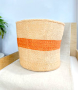 "Kiondo Basket - Narural Pitch & Orange Stripe l14""l Planter, Storage, Decor"