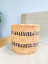 Kiondo Basket - Natural Pitch & Two Black Stripes  | 8"