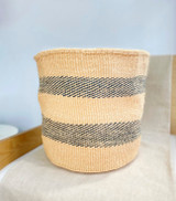 Kiondo Basket - Natural with Two Black Dashed Stripes | 14"