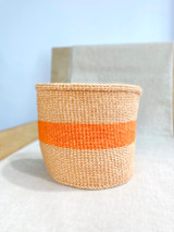Kiondo Basket - Natural Pitch With Orange Stripes  | 8"
