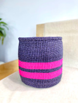 Kiondo Basket - Dark Grey with Two Pink Stripes | Planter, Storage, Decor