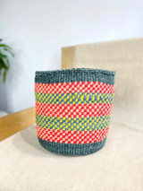 Kiondo Basket - Gray with Multicolored Checkered Design | 9"