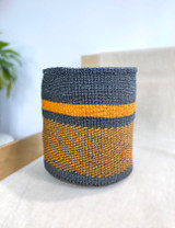 Kiondo Basket - Black with Orange Stripe and Orange Design | 10"
