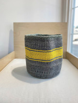Kiondo Basket - Black with Yellow Stripe Design | 10"