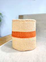 Kiondo Basket - Natural with Orange Stripe  | 10"