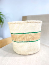 Kiondo Basket - White with Natural Brown Stripe (Green accent) | 10"