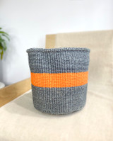 Kiondo Basket - Grey with Orange Stripe  | 10"