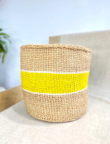 Kiondo Basket - Natural with Yellow Stripe (White Accent)  | 10"
