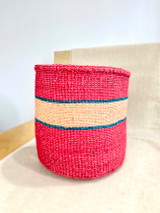 Kiondo Basket - Magenta with Natural Stripe (Green Accent) | 11"