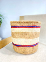 Kiondo Basket - Natural Brown with Two White Stripes (Red/Blue Accent)  | 10"