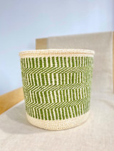 Kiondo Basket - Natural with Green Stripe Design | 11"