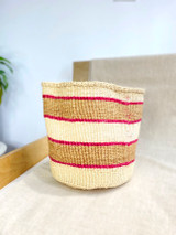 Kiondo Basket - Natural White with Two Natural Brown Stripes (Magenta Accent) | 10"
