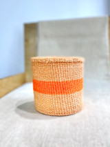 Kiondo Basket - Narural Pitch & Orange Stripe | Planter, Storage, Decor