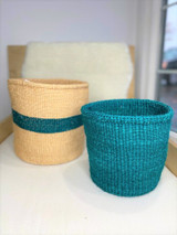 Kiondo Basket - Natural with Emerald Green Stripe  | 10"