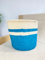 Kiondo Basket - White & Teal Blue  | 11"