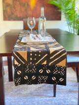 Mud Cloth | Table Runner | Traditional Blacks & Browns  | Handmade in Kenya