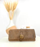 Travel Roll Toiletry/Washbag | Textured Dark Brown | Genuine Leather | Handmade in Kenya