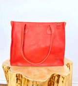 "Genuine Leather Tote/Laptop Bag/Briefcase for Women | Orange-Red | 15""x12"" 