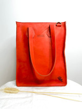"Genuine Leather Satchel/Laptop Bag/Briefcase for Women | Orange-Red | 12""x15"" 