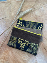 "Coin Purse | Gold & Black Patterns | Leather | 3""x 5"" 