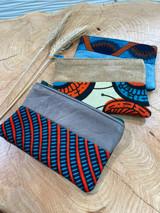 "Coin Purse | Blue & Orange Pattern | Leather | 3""x 5"" | Handmade in Kenya"
