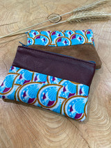 "Coin Purse | Blue Shell Pattern | Leather | 3""x 5"" 