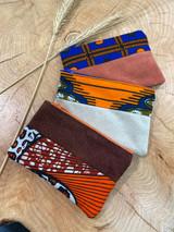 "Coin Purse | Blue & Orange Patterns | Leather | 3""x 5"" | Handmade in Kenya"