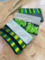 "Coin Purse | Green Leaf and Stripes | Leather | 3""x 5"" 