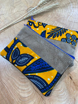 "Coin Purse | Blue & Yellow Leaves | Leather | 3""x 5"" 