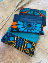 "Coin Purse | Orange & Turquoise Patterns | Leather | 3""x 5"" 