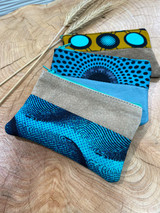 "Coin Purse | Black & Blue Patterns | Leather | 3""x 5"" 