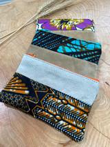 "Coin Purse | Orange, Blue, & Purple Patterns | Leather | 3""x 5"" | Handmade in Kenya"