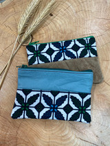 "Coin Purse | Blue & Green Leaves | Leather | 3""x 5"" 