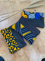 "Coin Purse | Blue & Yellow Patterns | Leather | 3""x 5"" 