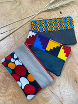 "Coin Purse | Colourful Geometric Patterns | Leather | 3""x 5"" 