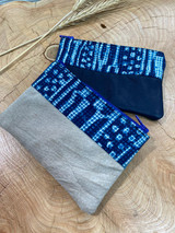 "Coin Purse | Light & Dark Blue Patterns | Leather | 3""x 5"" | Handmade in Kenya"