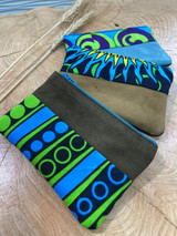 "Coin Purse | Blue & Green Patterns | Leather | 3""x 5"" 