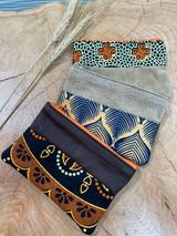 "Coin Purse | Tan & Orange Patterns | Leather | 3""x 5"" | Handmade in Kenya"