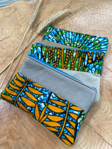 "Coin Purse | Blue, Green, Yellow Tropical | Leather | 3""x 5"" 