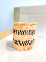 Kiondo Basket - Natural with Two Black Dashed Stripes | 6"