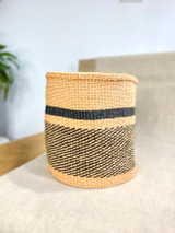 Kiondo Basket - Natural with Black Pattern and Black Stripe | 10.5"