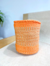 Kiondo Basket - Orange With Natural Brown Design | 9"